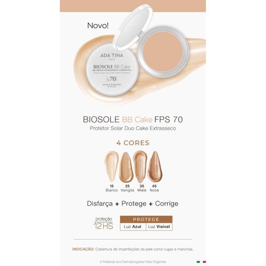 BB Cream Antienvelhecimento Biosole BB Cake com Protetor Solar Facial FPS 70 - Ada Tina - Noce 45