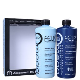 Kit Escova Sem Formol Omega Zero Unique Nanolastia Resistence e Sensitive - Felps Profissional - 2X500ML