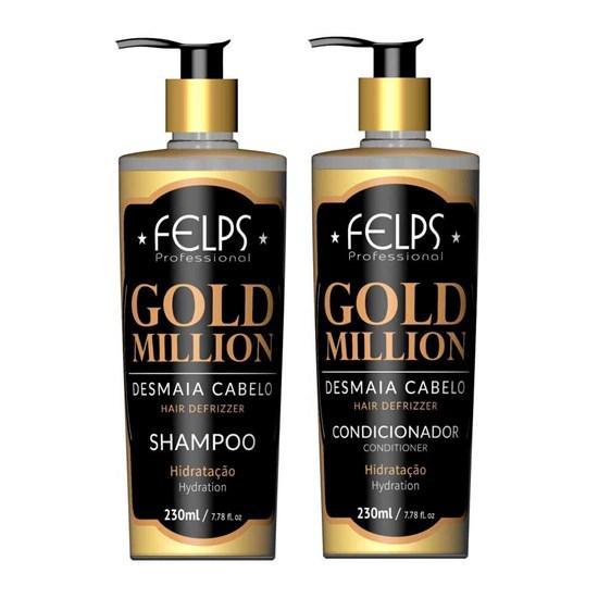 Kit Gold Million Desmaia Cabelo - Felps - Shampoo 230ml + Condicionador 230ml