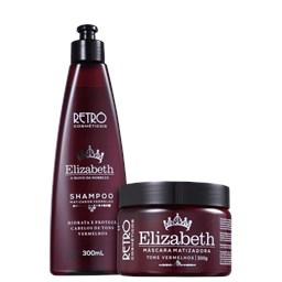 Kit Matizador Tons Vermelhos Red Elizabeth - Retrô Cosméticos - Shampoo 300ml + Máscara 300g