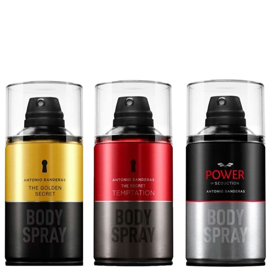 Kit Sedutor Body Spray - Antonio Banderas - Masculino - Power Of Seduction+ The Golden Secret + The Secret Temptation