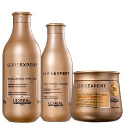 Kit Serie Expert Absolut Repair Gold Quinoa + Protein - L'Oréal Professionnel - Shampoo 300ml + Condicionador 200ml + Máscara Capilar 250g