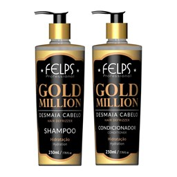 Kit Shampoo e Condicionador Gold Million Desmaia Cabelo - Felps Profissional - 2X230ML